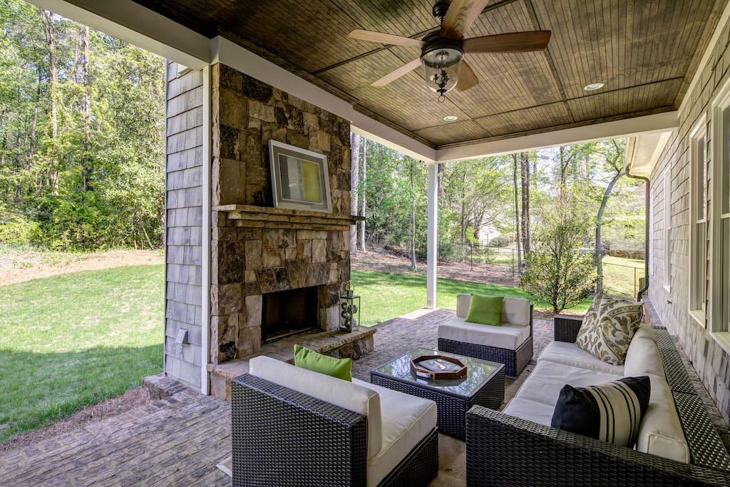Find rest and tranquility by this fireplace at Long Island Parc
