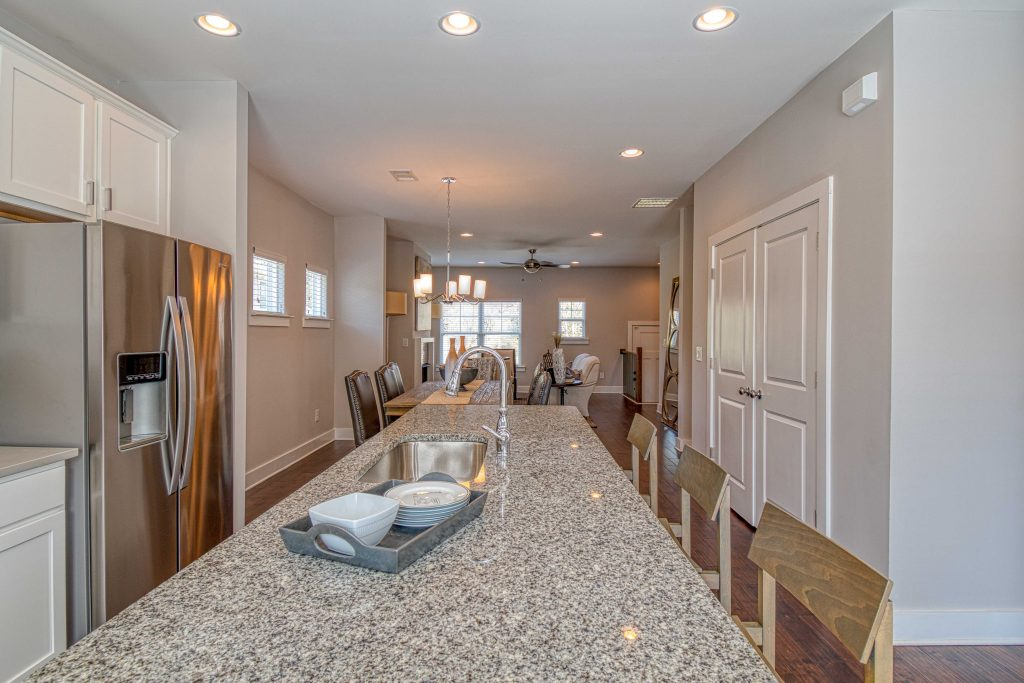 Open kitchen in an Eastland Gates townhome