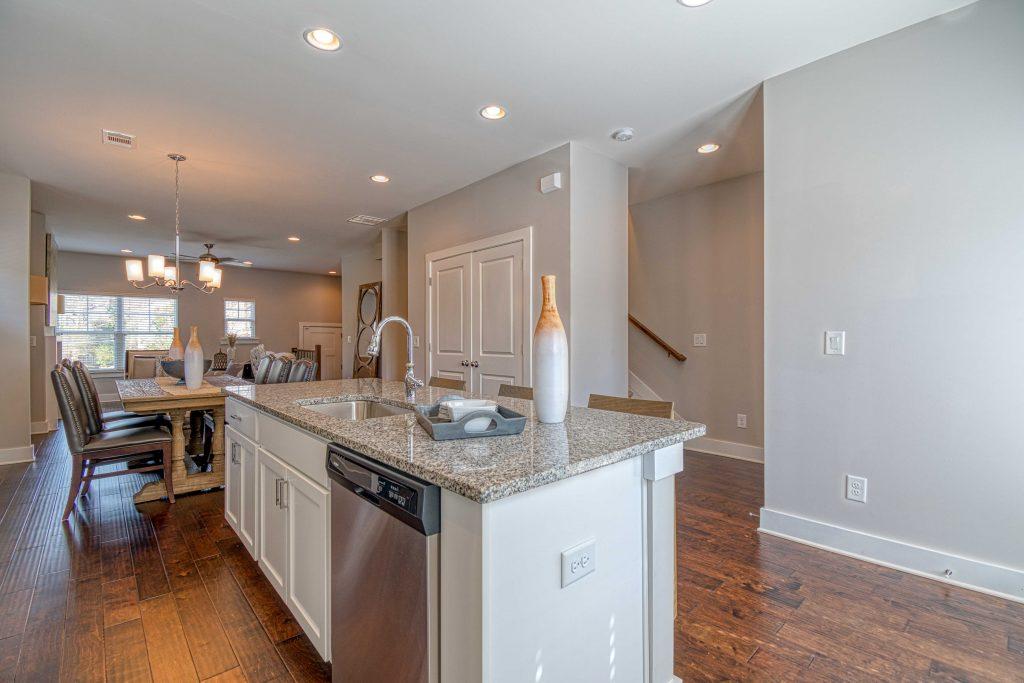 Striking hardwood floors in the kitchen at Eastland Gates