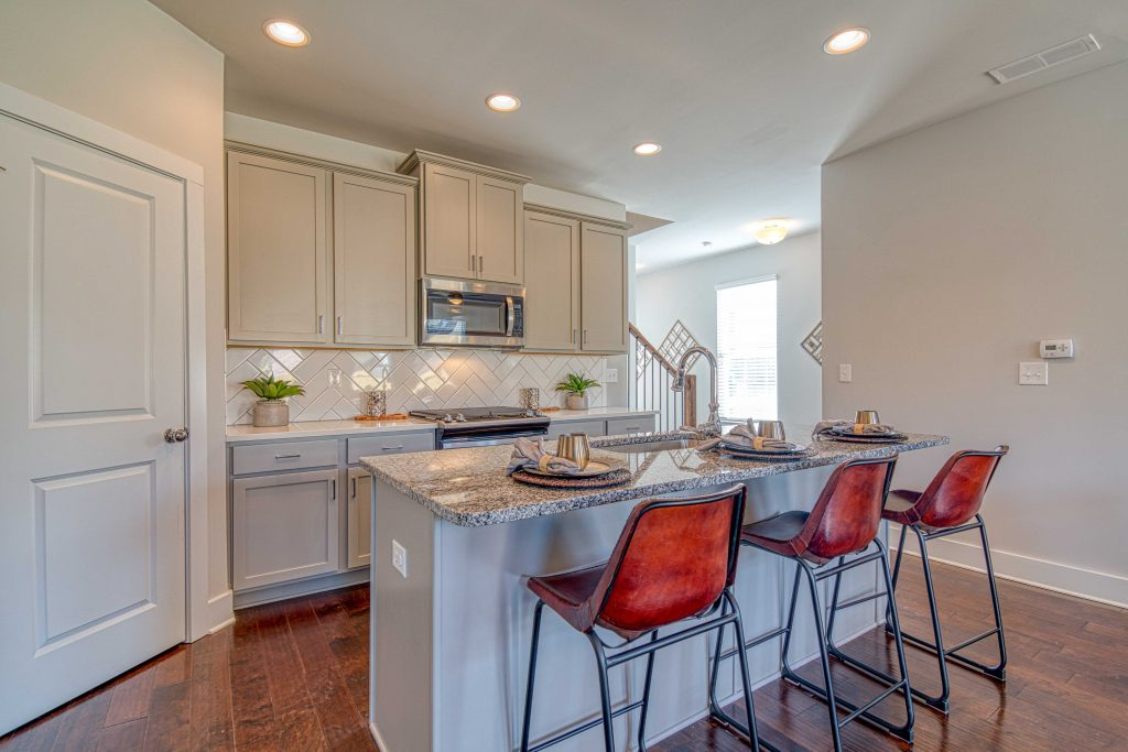 The kitchen in a Heights at Grant Park Atlanta townhome