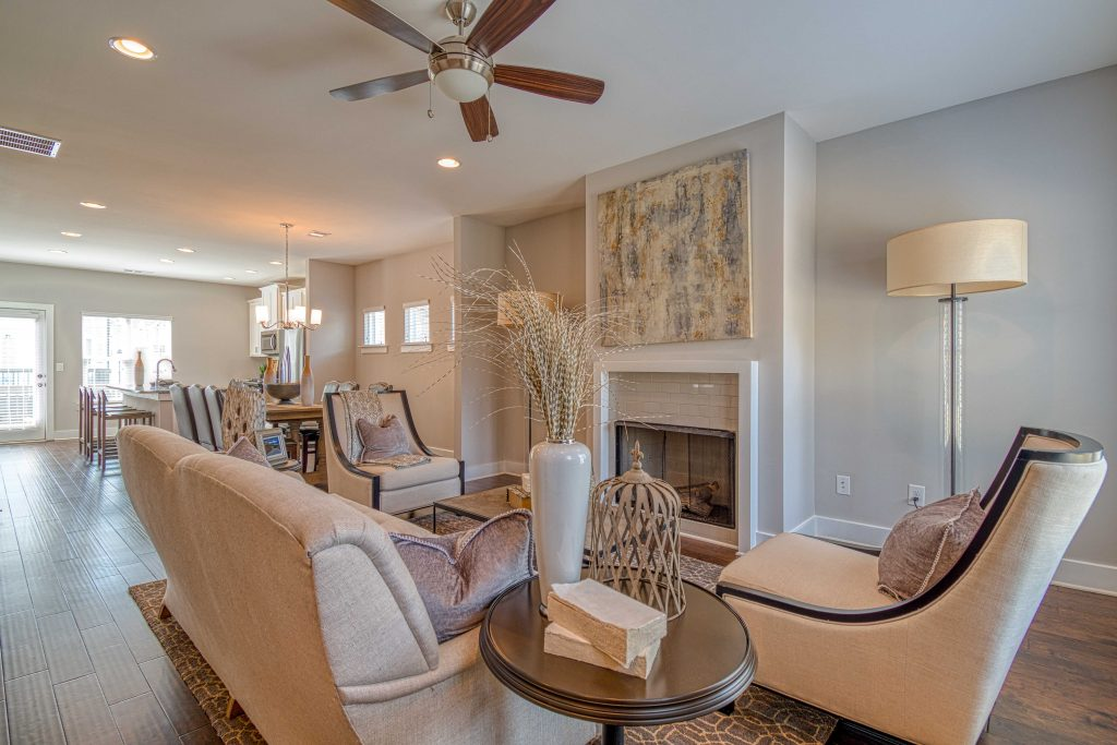 A living room in an Atlanta Townhome at Eastland Gates