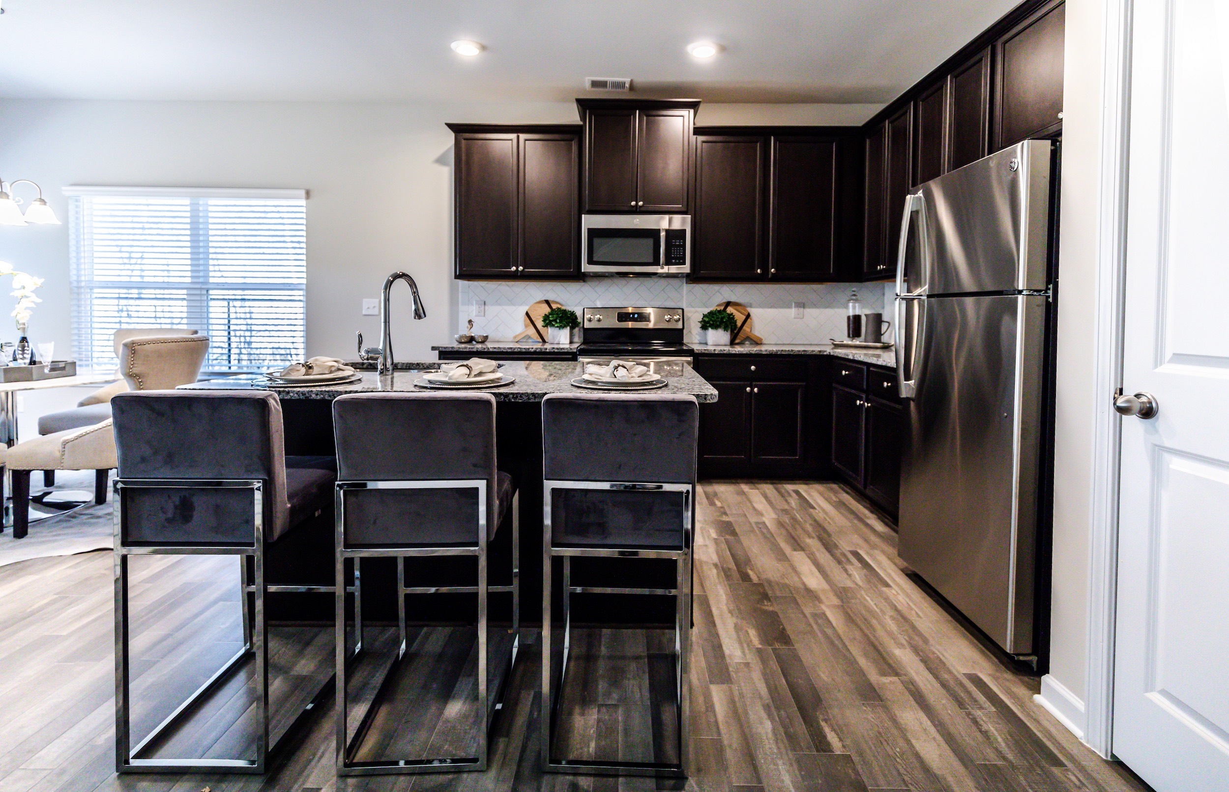 Open concept kitchen with many features at High Grove