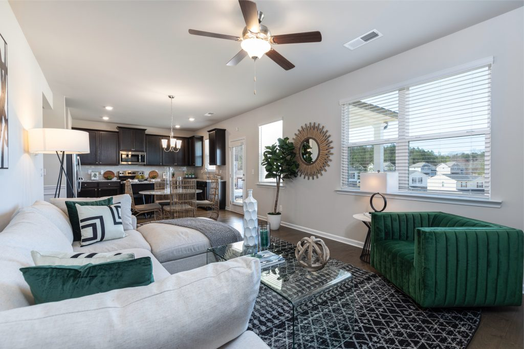 A beautiful Rockhaven Homes living room in a new home in metro atlanta