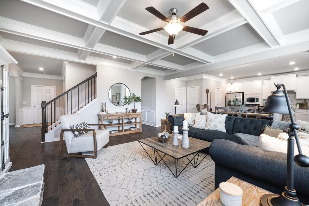 A living room in the new homes at Jefferson Downs